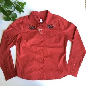 Levi's   red button up embroidered top